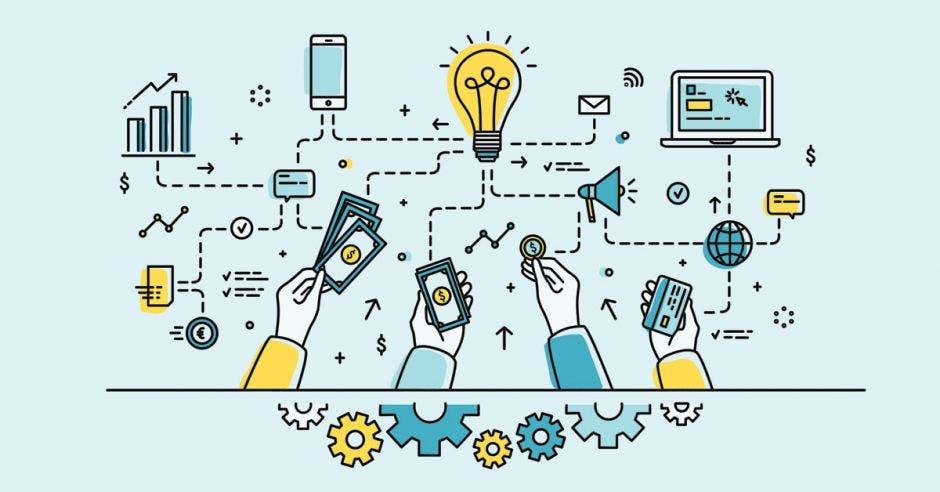 elementos tecnológicos que se  unen a un bombillo  de idea