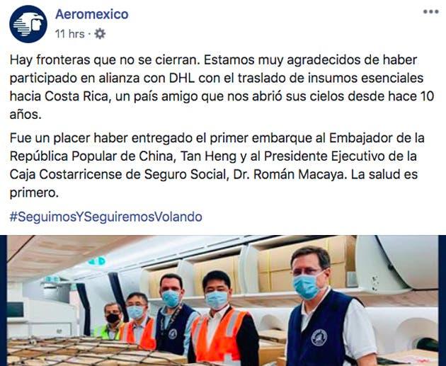 Aeromexico agradece a Costa Rica