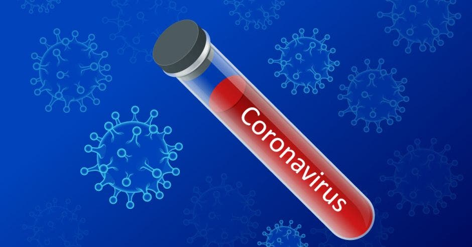 Un tubo de ensayo con sangre y la palabra coronavirus