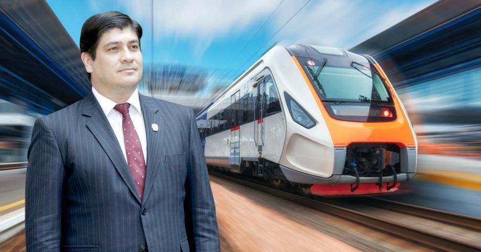 Arte del presidente junto a un tren eléctrico moderno