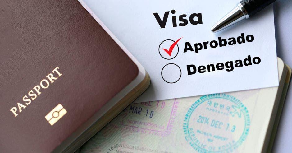 Una visa junto a un pasaporte