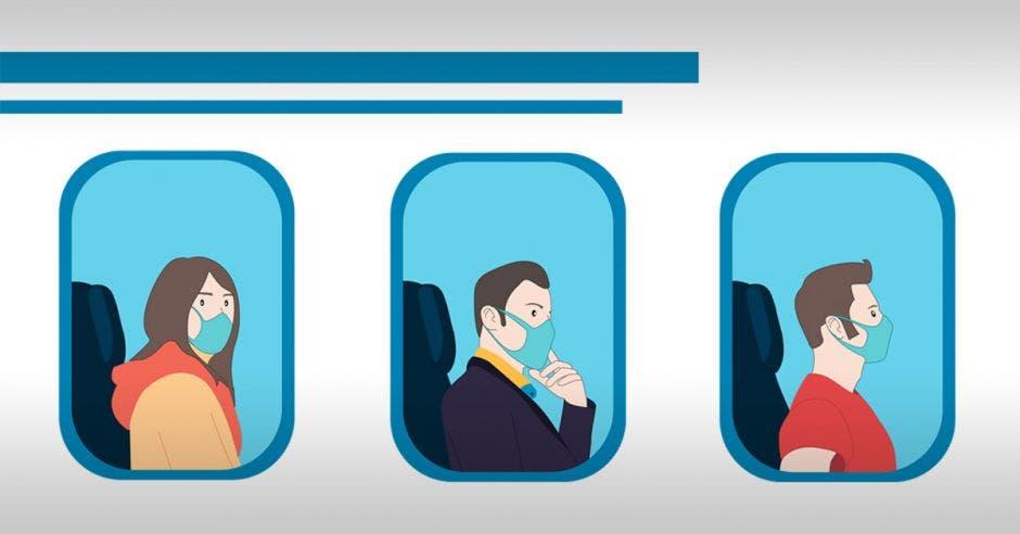 Tres personas con mascarillas a bordo de un avión