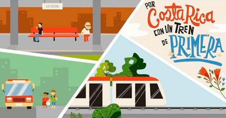 Arte de campaña en favor del tren