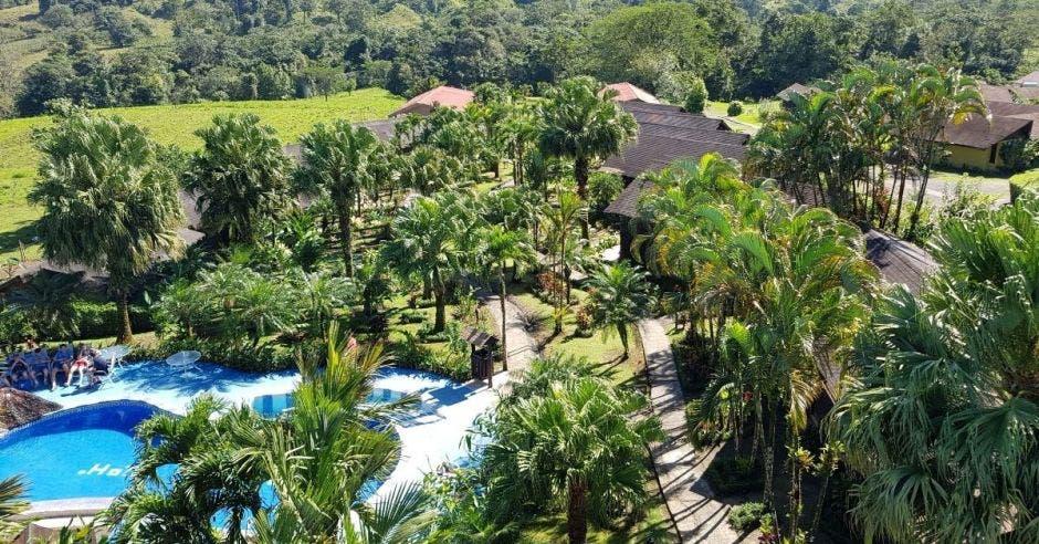 Un hotel lleno en medio de un manglar y con una piscina en el centro