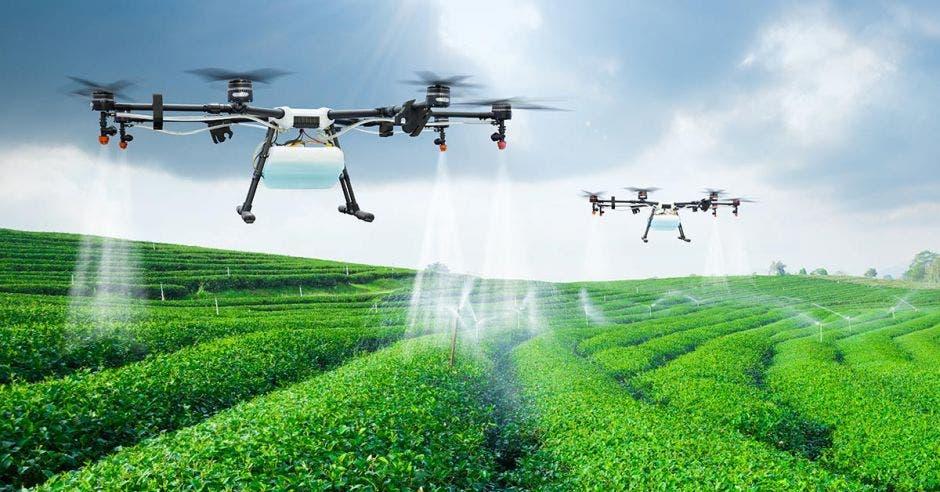 Dos drones riegan un campo