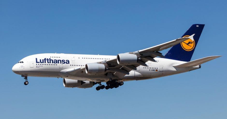 Un avión blanco con la cola azul
