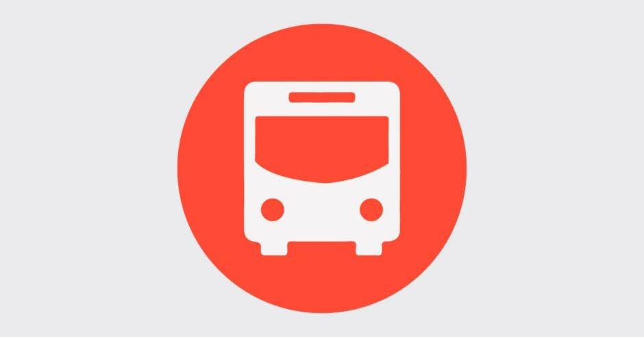 Un bus blanco en fondo rojo