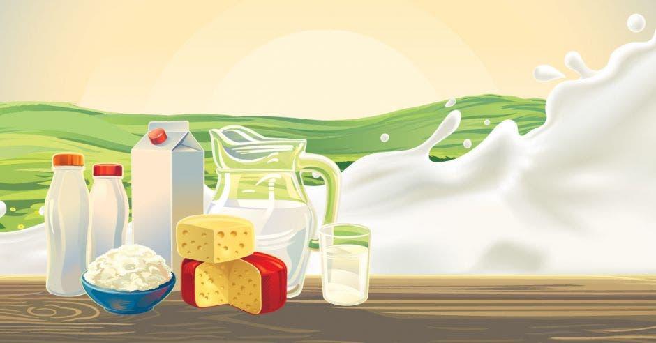 Una serie de productos lácteos colocados en una mesa