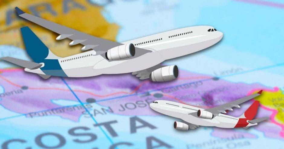Dos aviones sobrevuelan un mapa de costa rica