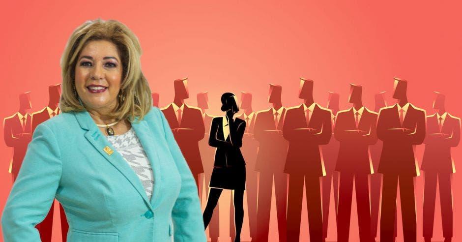 Roxana Sosa se posiciona al frente de un grupo de empresarios con saco y corbata que observan mal a la única mujer.