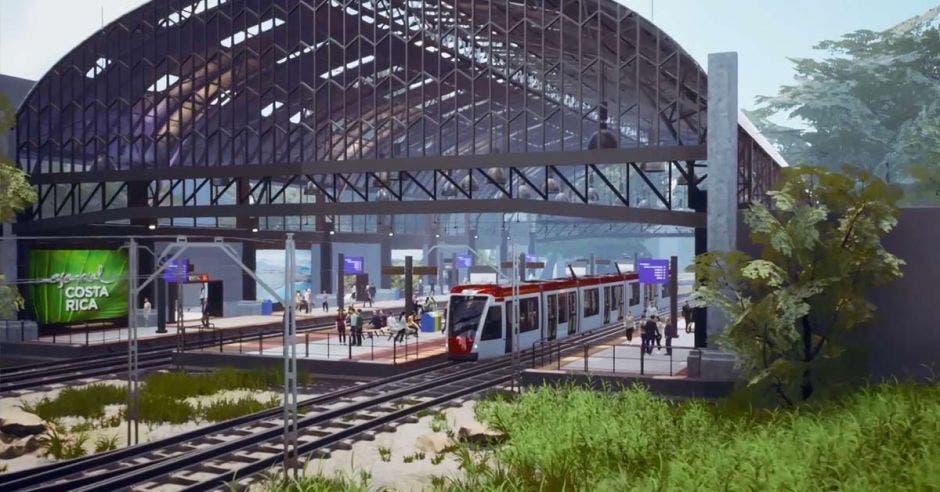 Un tren estacionado en una estación