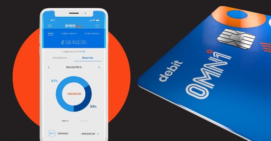 Un celular y una tarjeta de débito