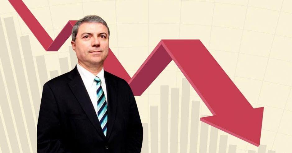 Gerardo Corrales, economista, con una flecha apuntando hacia abajo