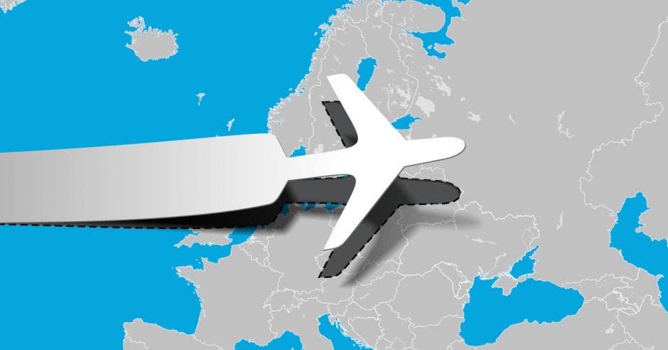 Un avión surca los aires sobre un mapa color gris