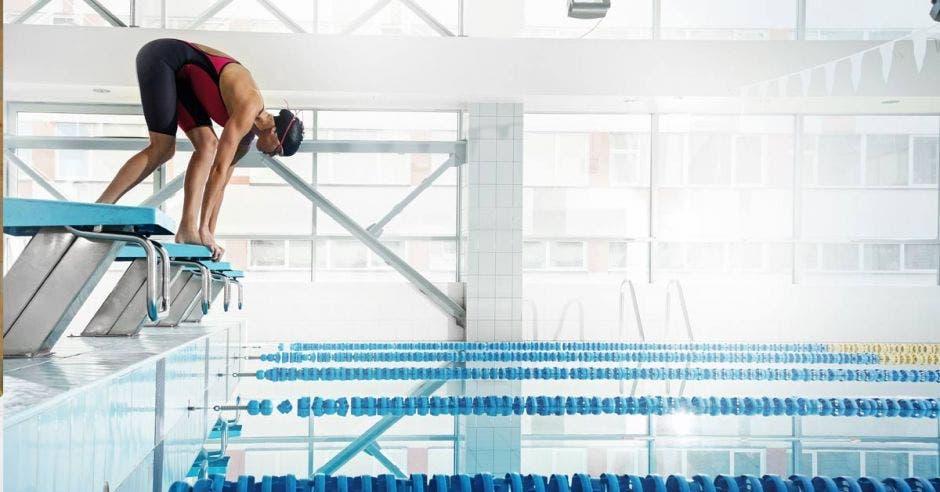 nadador se va a lanzar en una piscina