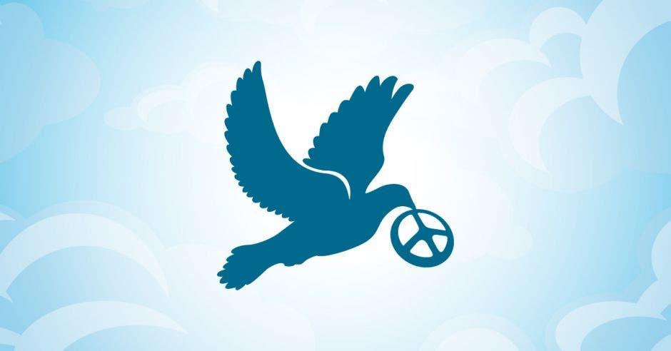 Una paloma azul carga un símbolo de paz