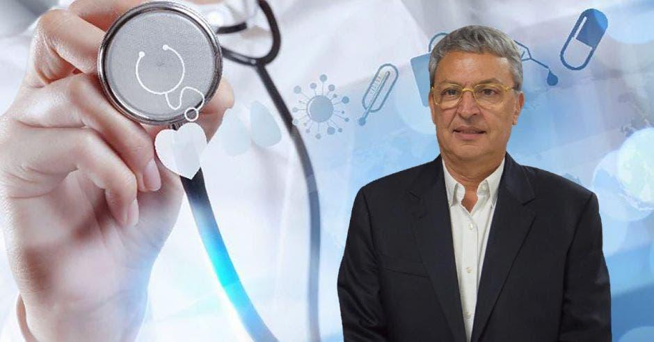 Hombre de anteojos posa frente a arte de doctor con estetoscopio