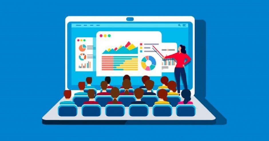 Computadora de una profesora impartiendo clases