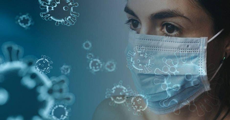 Mujer con mascarilla rodeada de virus