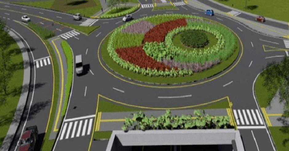Vemos una rotonda con varias salidas y carros circulándola