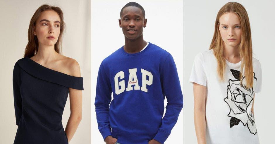 Modelos posan con ropa de esas marcas