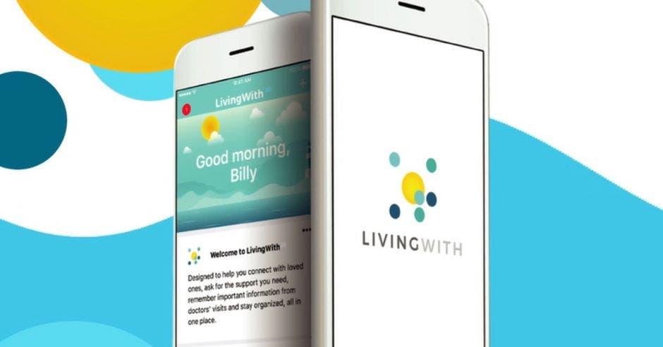 """Vemos dos iphones con el display de la App """"LivingWith"""""""
