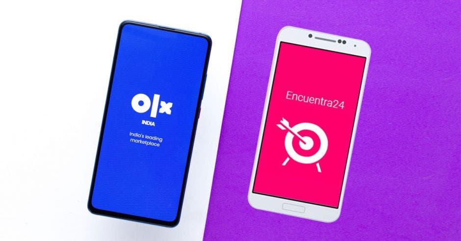 OLX y Encuentra24 puestos en dos celulares diferentes
