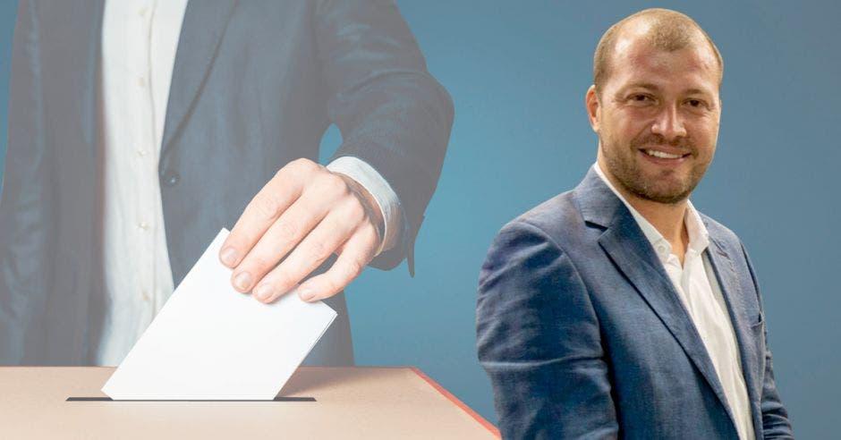 Nixon Ureña, alcalde de San Ramón con arte de persona depositando un voto en la urna