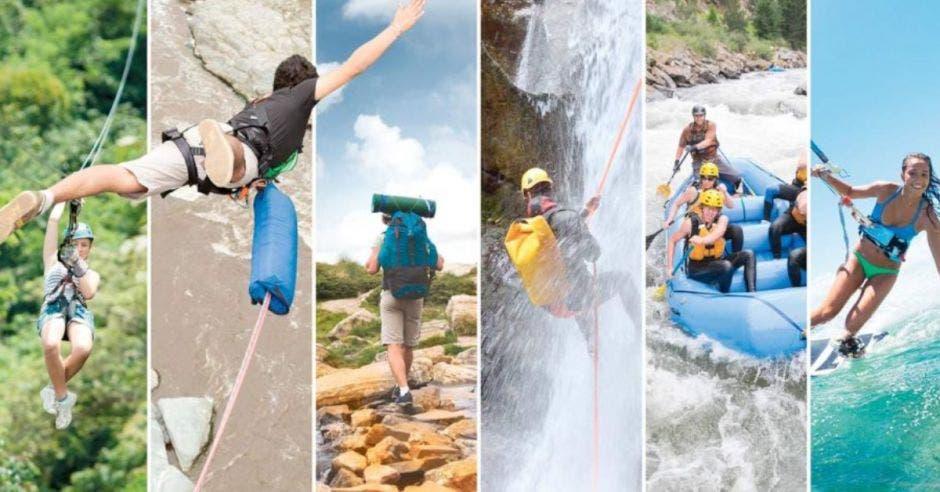 Personas realizando múltiples actividades turísticas