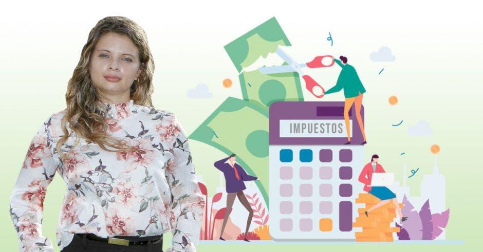 Mujer frente a arte de calculadora