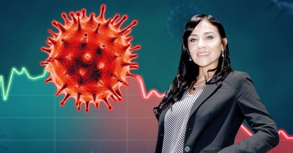 Mujer con traje frente a virus del Covid