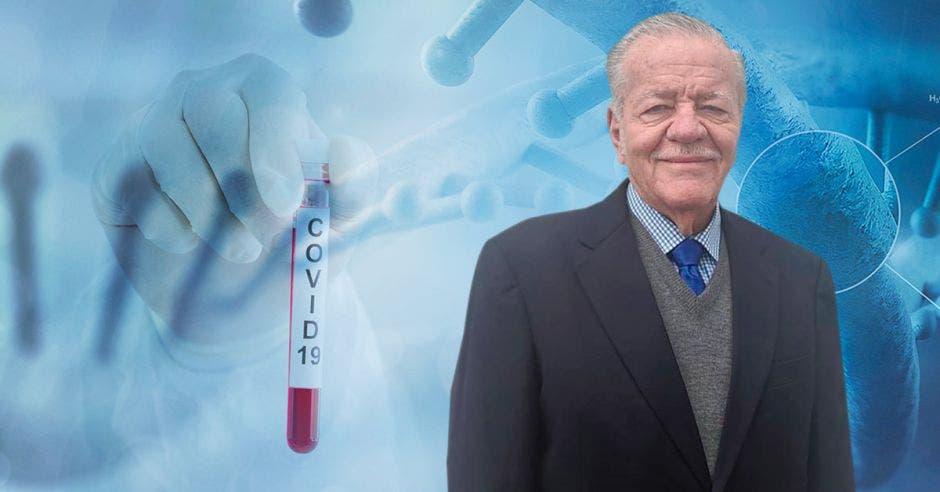 Hombre de avanzada edad frente a un arte de medicina
