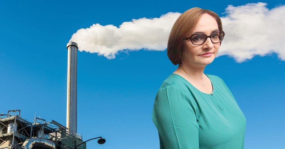 Una mujer junto a una planta incineradora