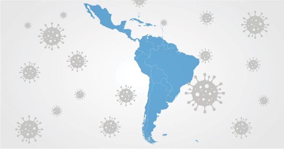 Un mapa con virus alrededor
