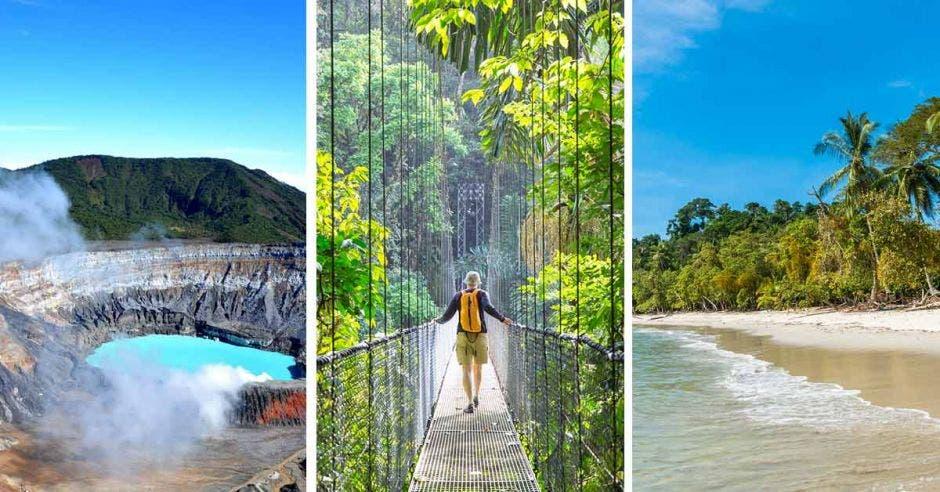 Tres escenarios turísticos, uno de volcán, otro de montaña y otro de playa