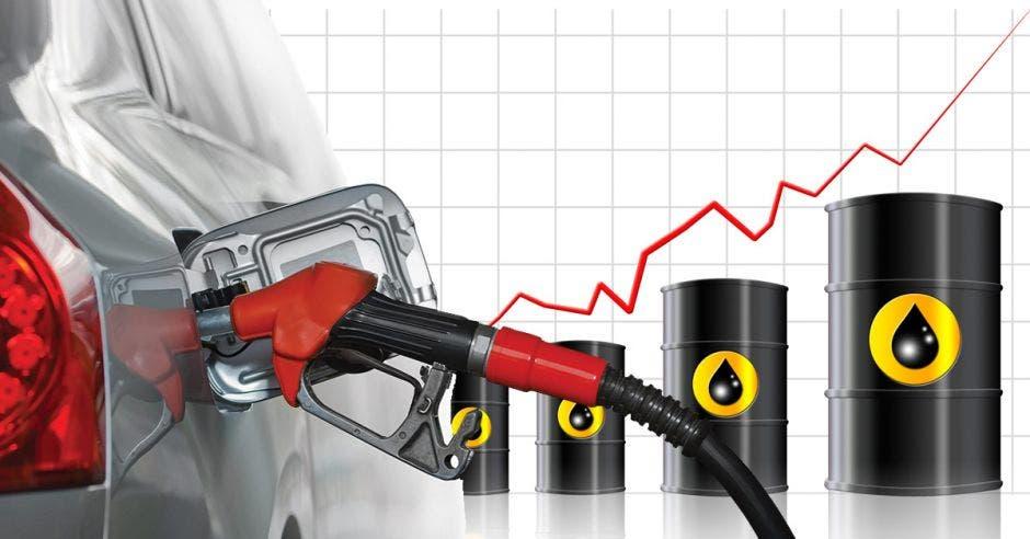 Barriles de petróleo junto a una pistola de gasolina