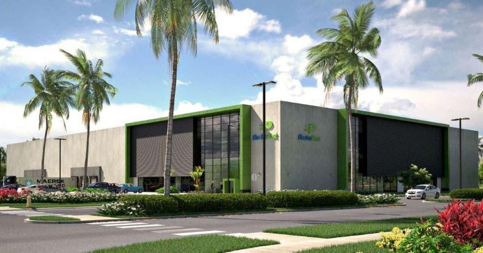 Render de un edificio gris con verde