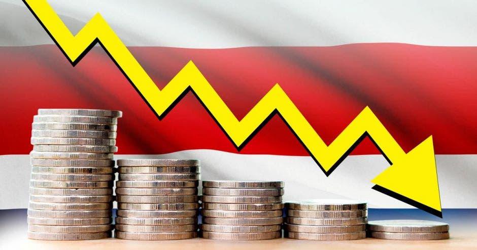 Monedas en fila disminuyendo, con fondo de bandera tica