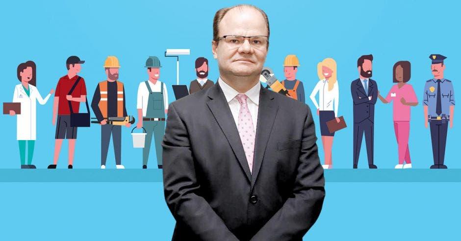 Elián Villegas, ministro de Hacienda frente a arte de varias personas