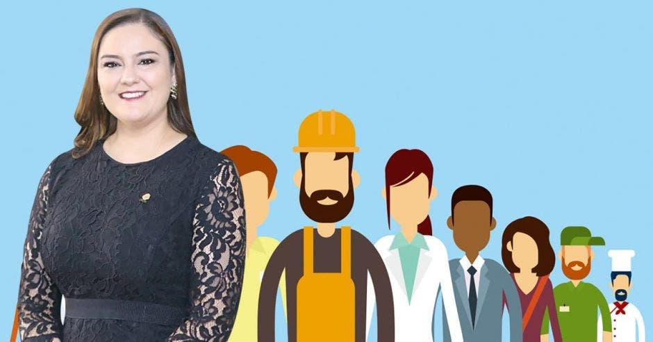 Mujer frente a varios profesionales