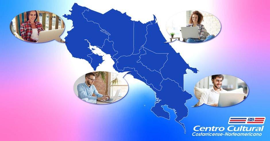 Un mapa de Costa Rica con personas con computadoras y el logo del Centro Cultural Costarricense Norteamericano