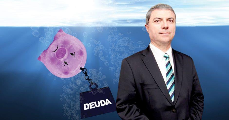 Hombre de traje frente a arte de alcancía de cerdo hundido con yunque de deuda