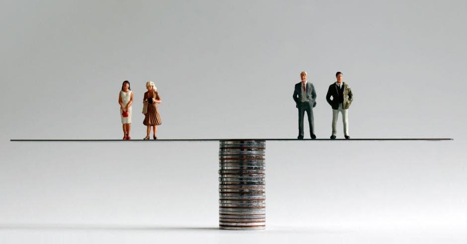 Mujeres y hombres en balanza sobre monedas