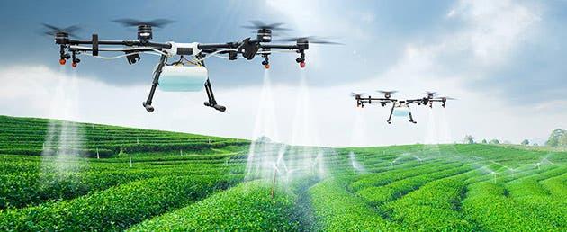 Drones trabajando en agricultura