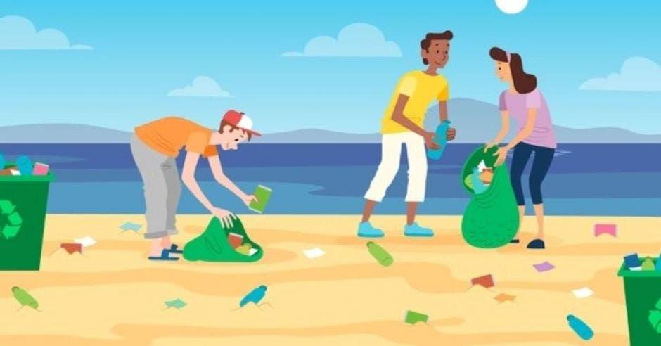 personas en playa