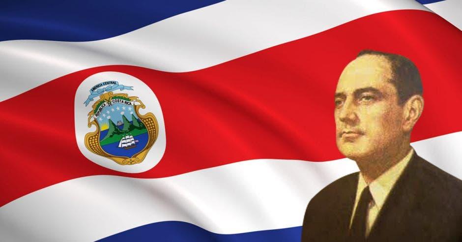 echandi frente a bandera de costa rica