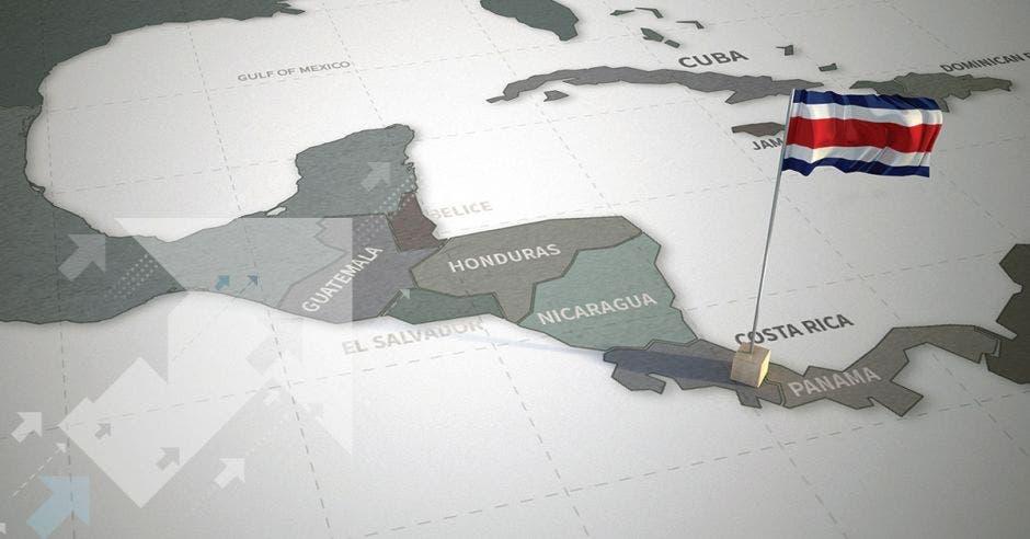 Un mapa de Centroamérica con Costa Rica en relieve y con una bandera