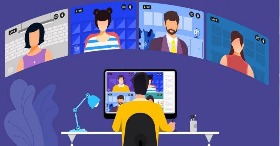 Estudiantes en clases virtuales