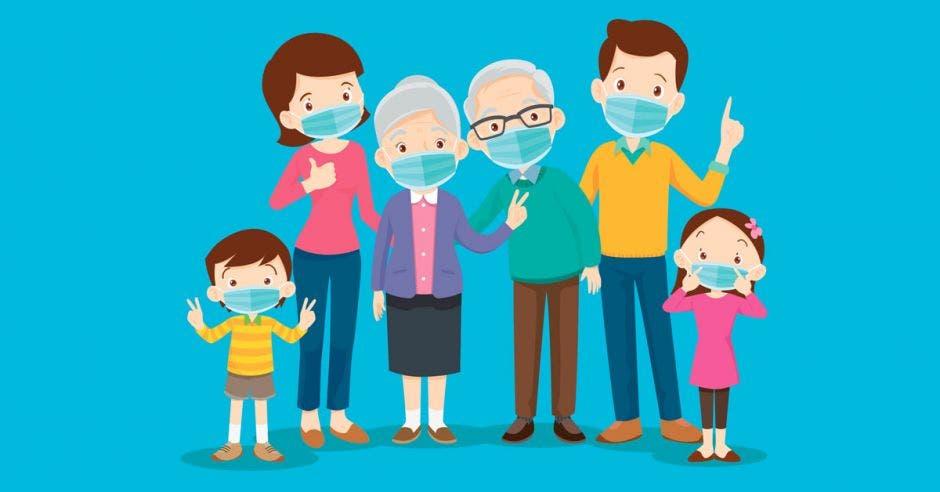 Un dibujo de una familia usando mascarillas