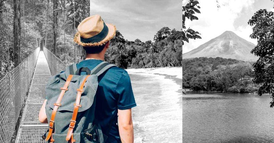 Un hombre con un sombrero panameño vislumbra un ambiente en blanco y negro